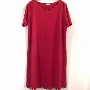 Reborn J Red Scalloped Dress Sz XL
